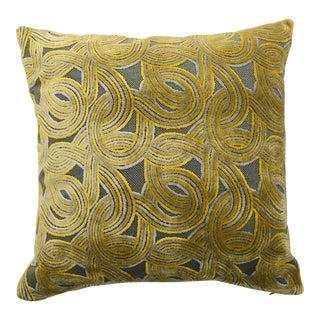 FirmaMenta Italian Green & Mustard Yellow Damask Velvet Pillow For Sale