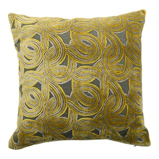 FirmaMenta Italian Green & Yellow Damask Velvet Pillow For Sale