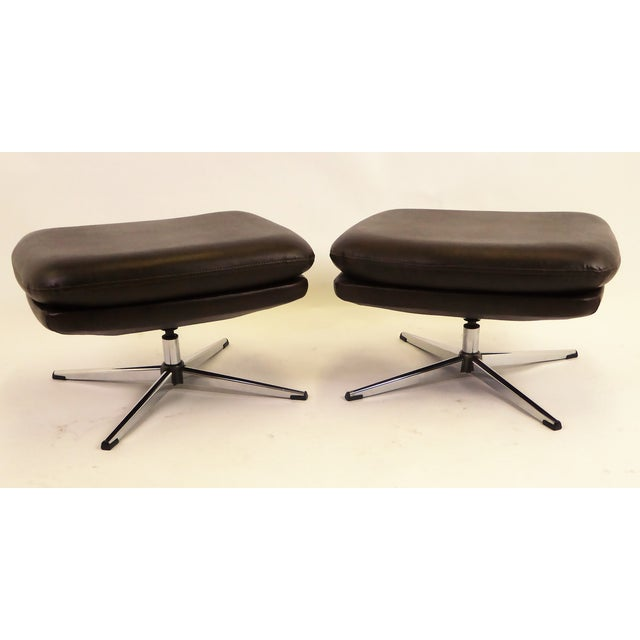 Overman Brown Leatherette Foot Stools / Benches - a Pair For Sale - Image 11 of 11