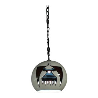 Navajo Ceramic Art Decorated Pendant Shade Light Fixture For Sale