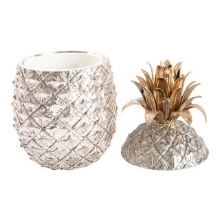 1970s Italian Pineapple Silvered Metal and Brass Ice Bucket For Sale