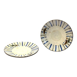 Japanese Antique Ceramic Small Plates - a Pair For Sale