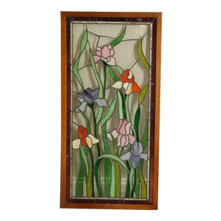Tiffany Style Stained Glass Framed Window Panel For Sale