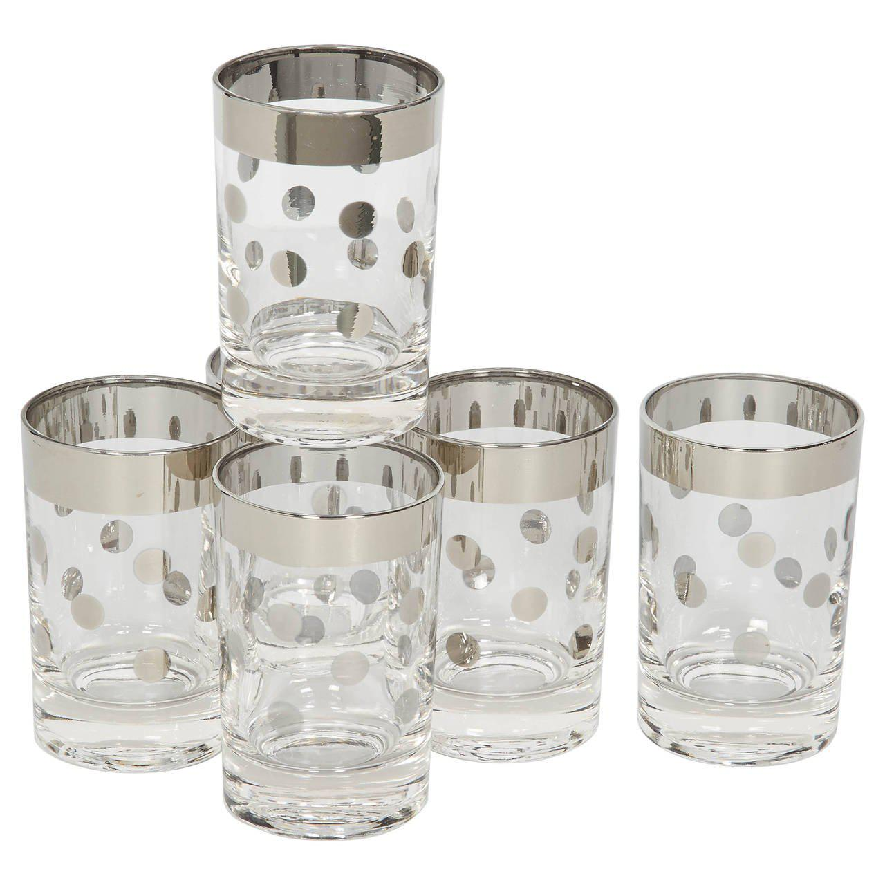 Exceptional Set Of Six Dorothy Thorpe Barware Glasses With Polka Dot Design   Image 2  Of 5
