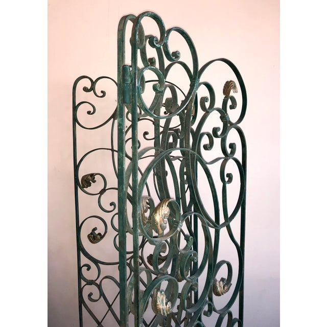 Antique Green Wrought Iron Folding Divider For Sale - Image 9 of 12