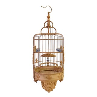Bamboo Floral Carved Birdcage For Sale