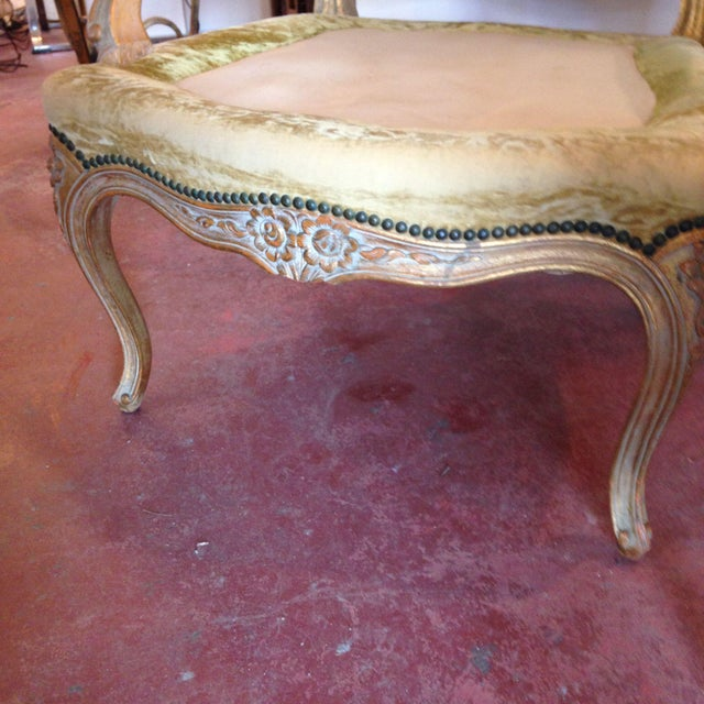 20th Century French Crushed Velvet Gilt-Framed Chairs - a Pair For Sale - Image 10 of 12