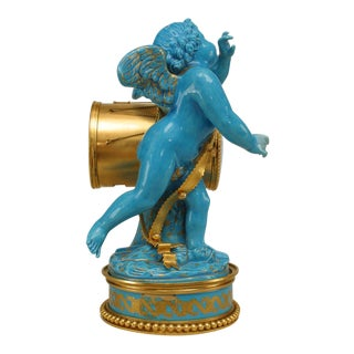 19th Century French Sèvres Three-Piece Figural Cherub Clock Set For Sale