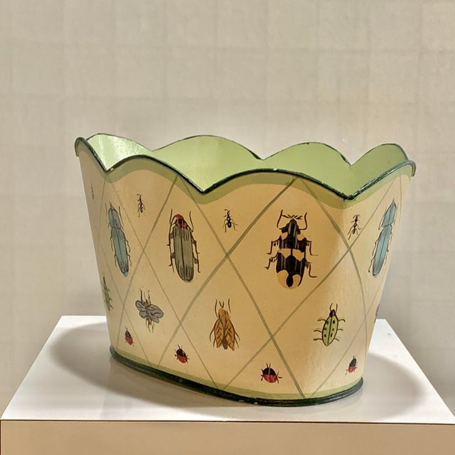 Campaign Vintage Tole Painted Insect Motif Scalloped Edge Metal Planter For Sale - Image 3 of 12