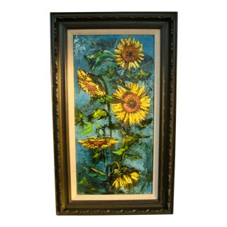 """1970s """"Sunflowers"""" Floral Still Life Oil Painting, Framed For Sale"""