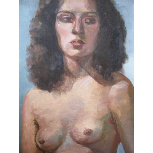 """Offered is a nude female portrait painting on canvas. The side of the canvas is signed Evelyn Goldstein.. It measures 20""""..."""