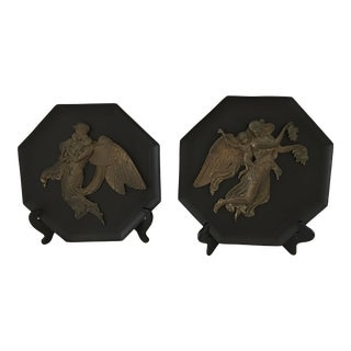 Vintage Neoclassical Iron & Brass Plaques - a Pair For Sale