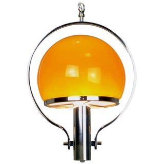 Spherical Amber Cased Glass and Chrome Chandelier For Sale