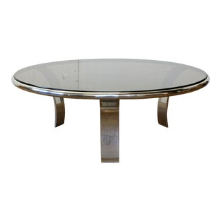 Steelcase Gardner Leaver Space-Age Chrome and Smoke Glass Coffee Table For Sale