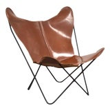 Image of Jorge Ferrari-Hardoy Leather and Iron Butterfly Lounge Chair Mid Century Modern For Sale