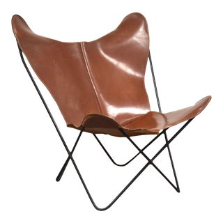 Jorge Ferrari-Hardoy Leather and Iron Butterfly Lounge Chair Mid Century Modern For Sale