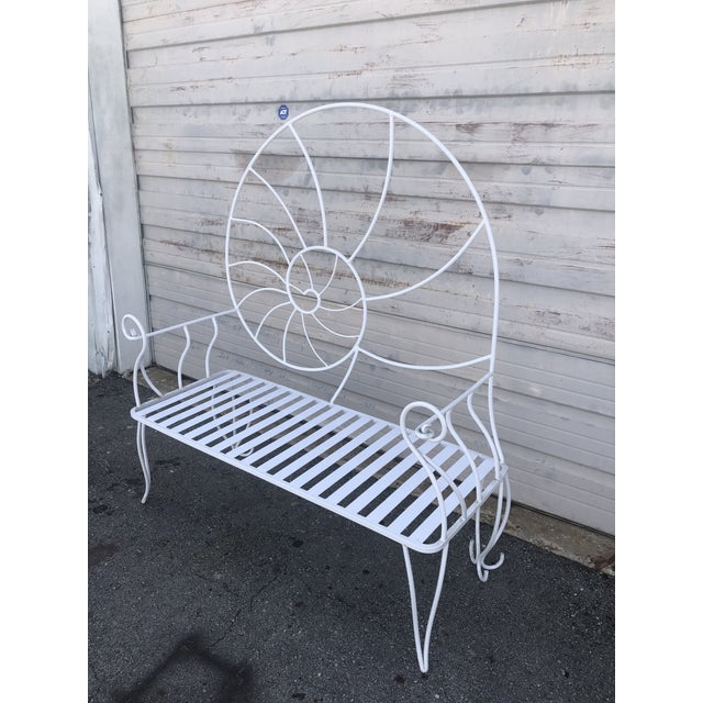 Nautical Shell Wrought Iron Art Nouveau Garden Bench For Sale In West Palm - Image 6 of 10