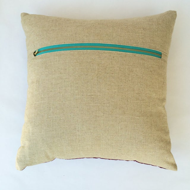 Hand Woven Pink Striped Pillow - Image 3 of 3
