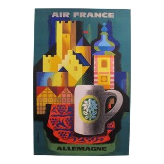 1962 Original Vintage Air France Poster, Allemagne - by Nathan