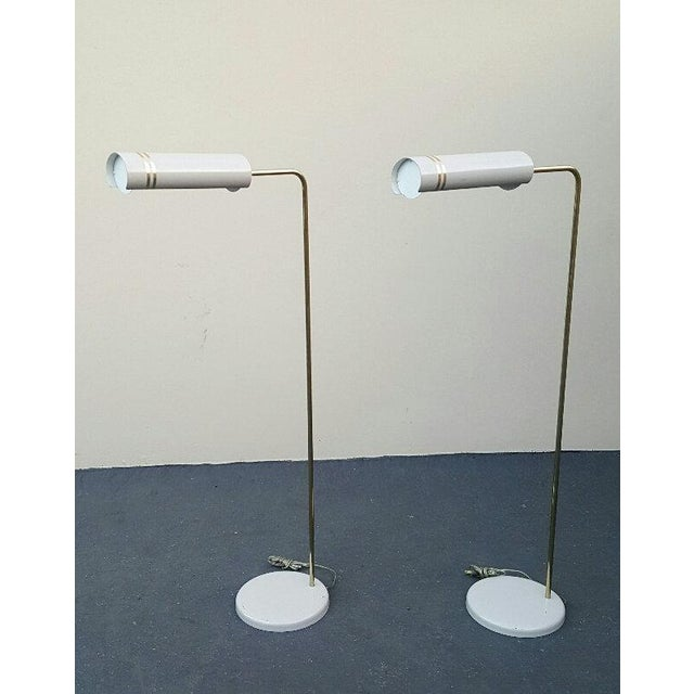 Metal Mid Century Rare Stylized Space Age Gerald Thurston Reading Floor Lamps - a Pair For Sale - Image 7 of 11