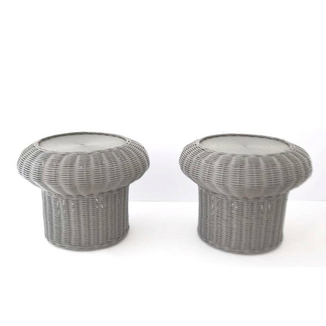 Mid-Century Modern Pair of Midcentury Woven Rattan Side Tables For Sale - Image 3 of 7