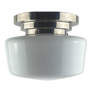 French Modernist White Opaline Chrome Flush Mount Ceiling Light For Sale