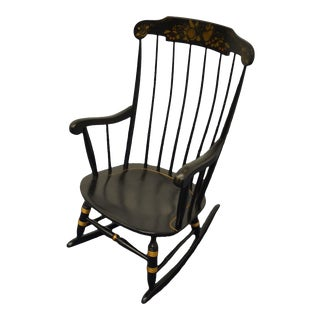 Nichols & Stone Gardener, Ma Hitchcock Black & Gold Rocking Chair For Sale