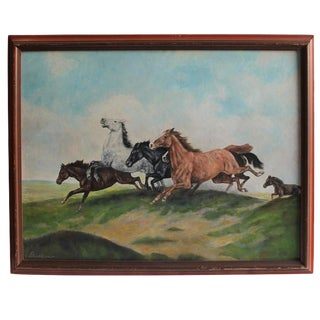 Signed Oil Painting of Horses on Board For Sale