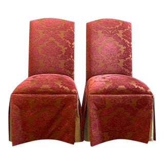 Lane Venture Upholstered Skirted Dining Chairs - a Pair For Sale