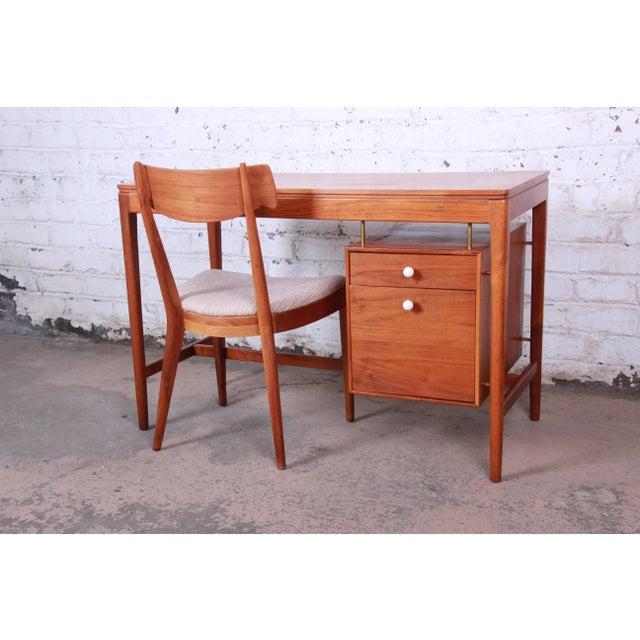 4800fa6de3003 Kipp Stewart for Drexel Declaration Mid-Century Modern Walnut Desk and  Chair For Sale -