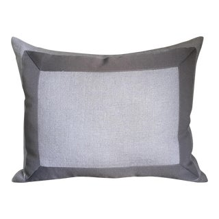 Gray Linen & Ribbon Pillow For Sale