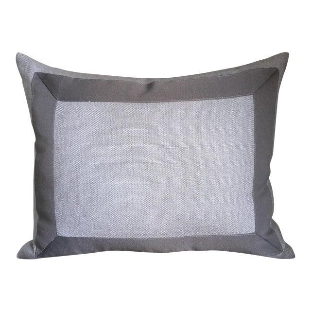 Gray Linen & Ribbon Pillow For Sale