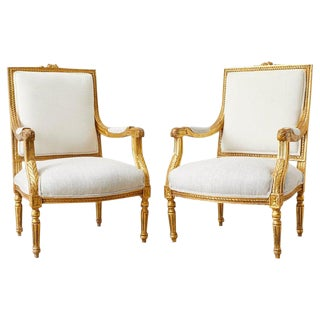 Pair of French Louis XVI Style Gilt Fauteuils a La Reine For Sale