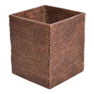 Artifacts Rattan Square Waste Basket For Sale