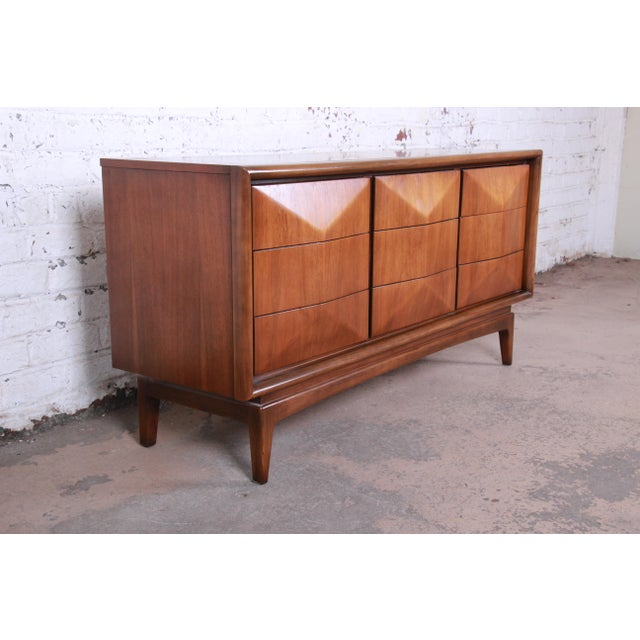 Danish Modern Mid-Century Modern Sculpted Walnut Diamond Front Triple Dresser or Credenza by United For Sale - Image 3 of 11