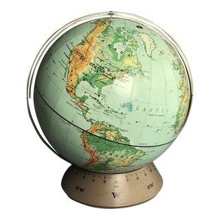 Vintage 1967 Rand McNally & Co World Globe Randmark III on Base W/ Time Line