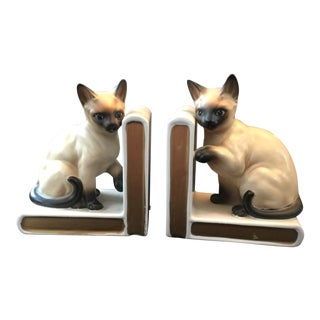 1960s Mid-Century Modern Siamese Cat Bookends - a Pair