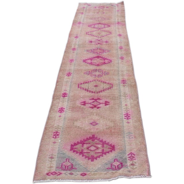 1970s Vintage Turkish Kurdish Pink Runner- 2′8″ × 12′5″ For Sale - Image 11 of 11