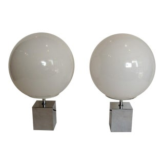 Sonneman Glass and Chrome Table Lamps - a Pair For Sale