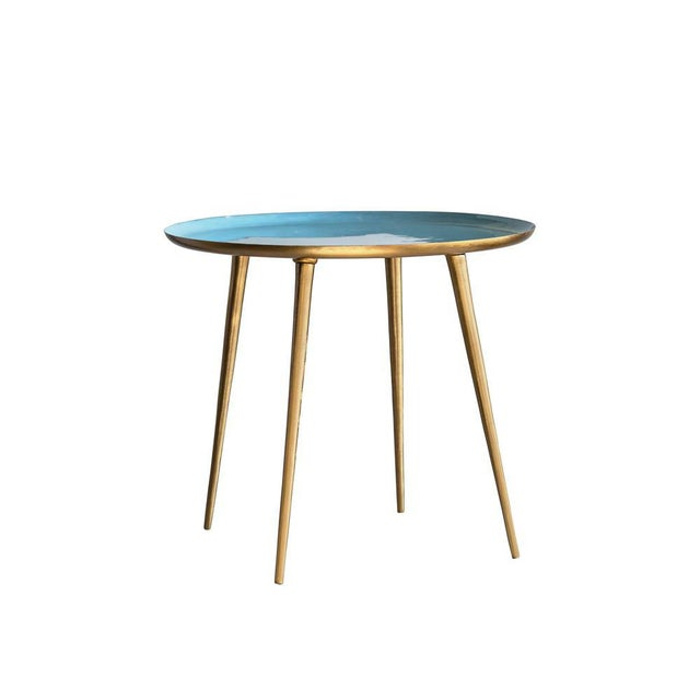 Mid-Century Modern Classic Blue Enameled Table For Sale - Image 3 of 4