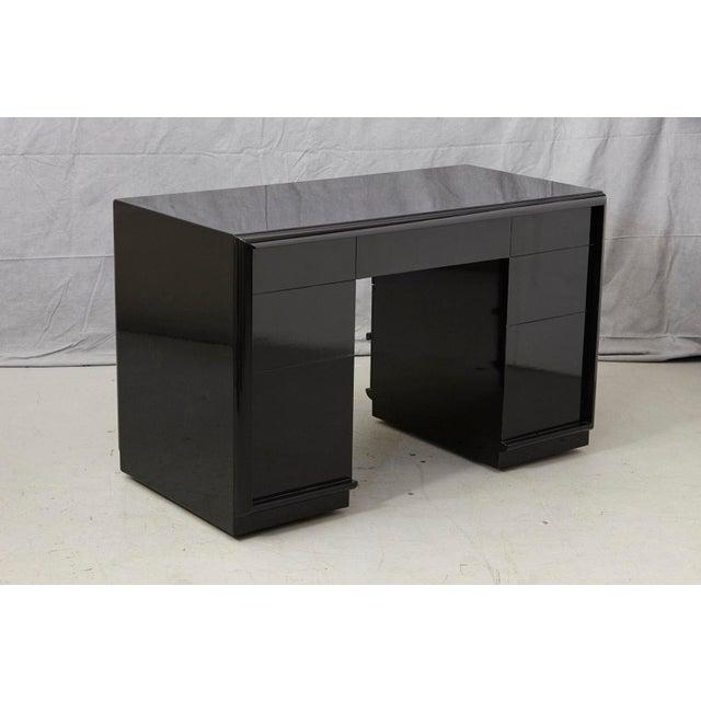 T.H. Robsjohn Gibbings Walnut Kneehole Desk, Ebonized with Brass Pulls For Sale - Image 10 of 12