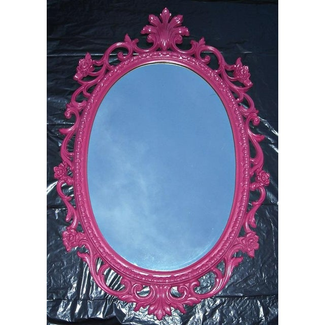 Mid-Century Hollywood Regency Pink French Mirror - Image 2 of 5