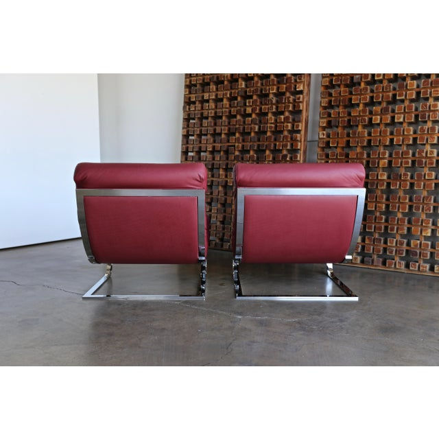 Renato Balestra Leather Lounge Chairs for Cinova Italy, Circa 1970 For Sale - Image 10 of 11
