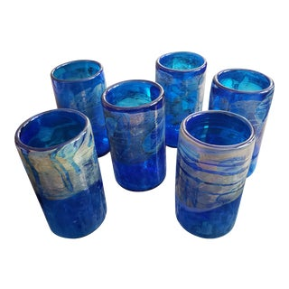 Signed Hand Blown Art Glass Glasses - Set of 6 For Sale