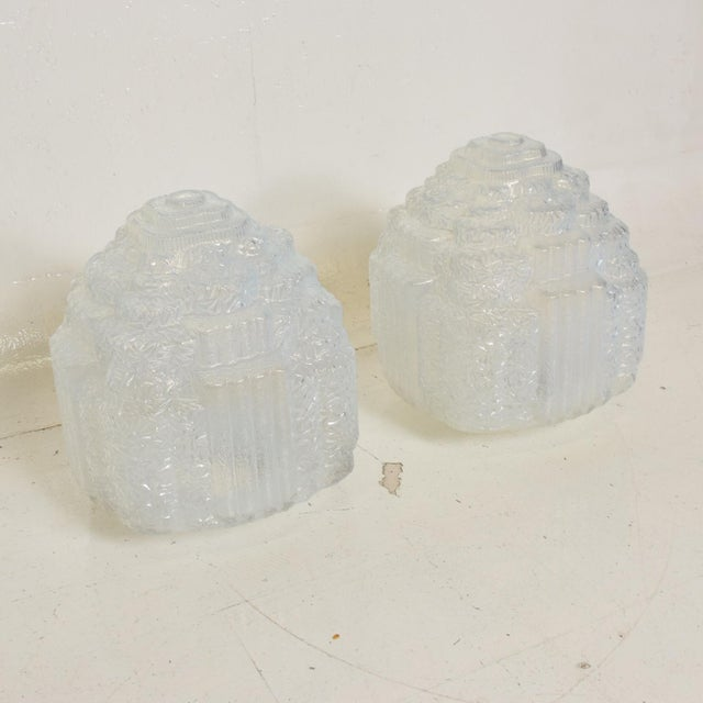 Rare Art Deco Light Blue Glass Shades , Set of Two For Sale - Image 9 of 11