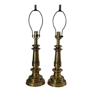 Mid 20th Century Stiffel Brass Candlestick Table Lamps - a Pair For Sale