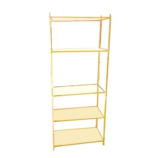 Jansen Style Yellow Painted Metal Framed 5-Tier Etagere For Sale
