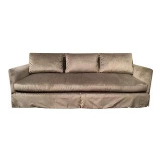 Caracole Modern Fair and Square Gray Velvet Skirted Sofa For Sale