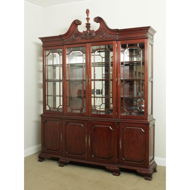 High Quality American Made Large 2 Piece Solid Mahogany Breakfront, Beveled Glass, Lighted Interior, Brass Hardware,...