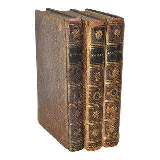 "Circa 1790s Antique Leather Bound ""World"" & ""Spectator"" Books - Set of 3"